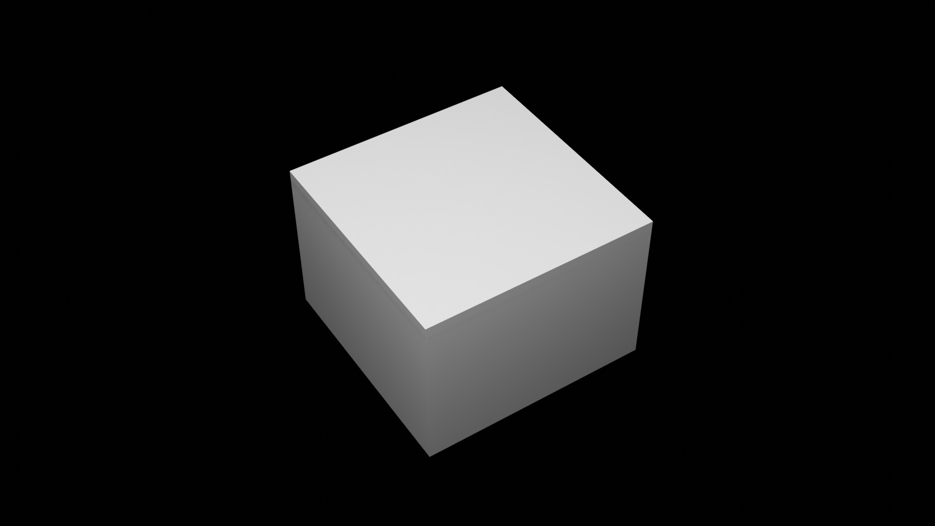 A white cube with a black backround behind it with shadows on its sides.