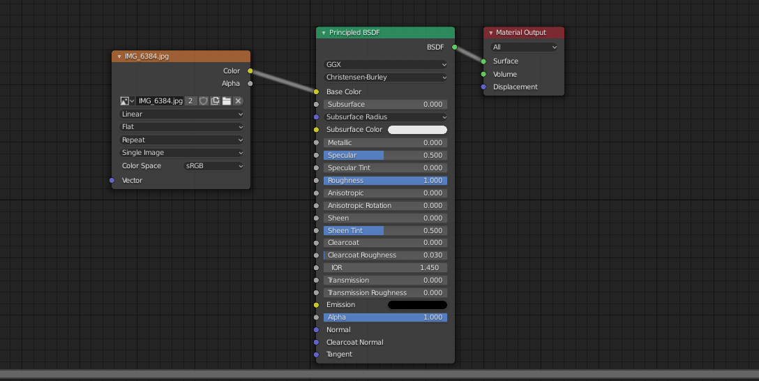 Some nodes in the Blender shader editor. An image texture node connects to a Principled BSDF node. The BSDF node then connects to the material output node.