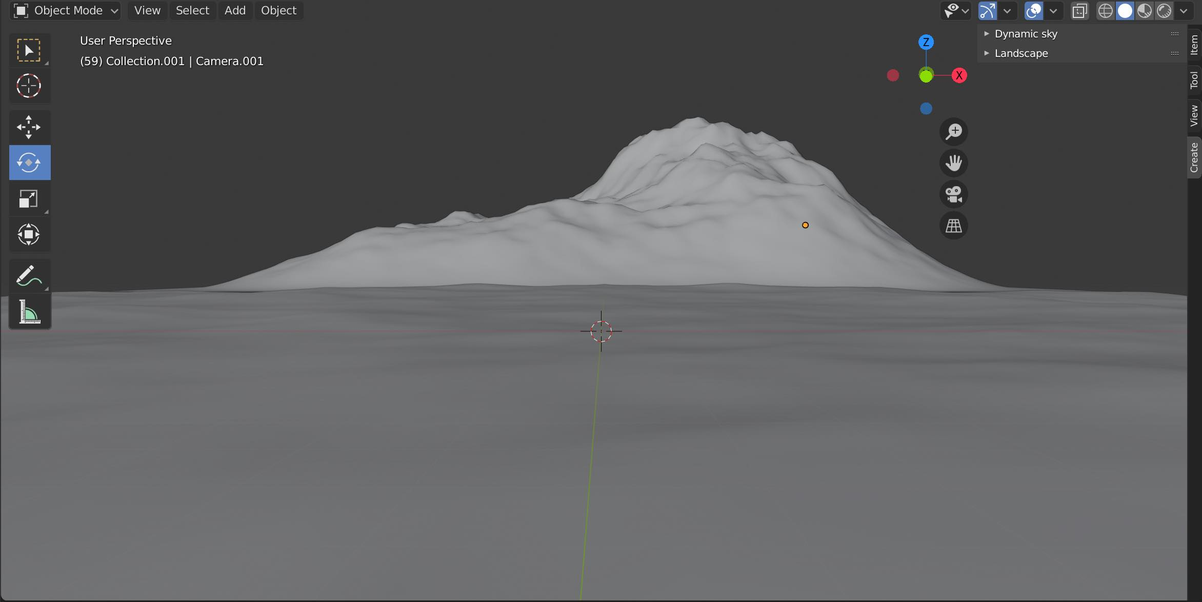 The Blender viewport with ocean and mountain in view.