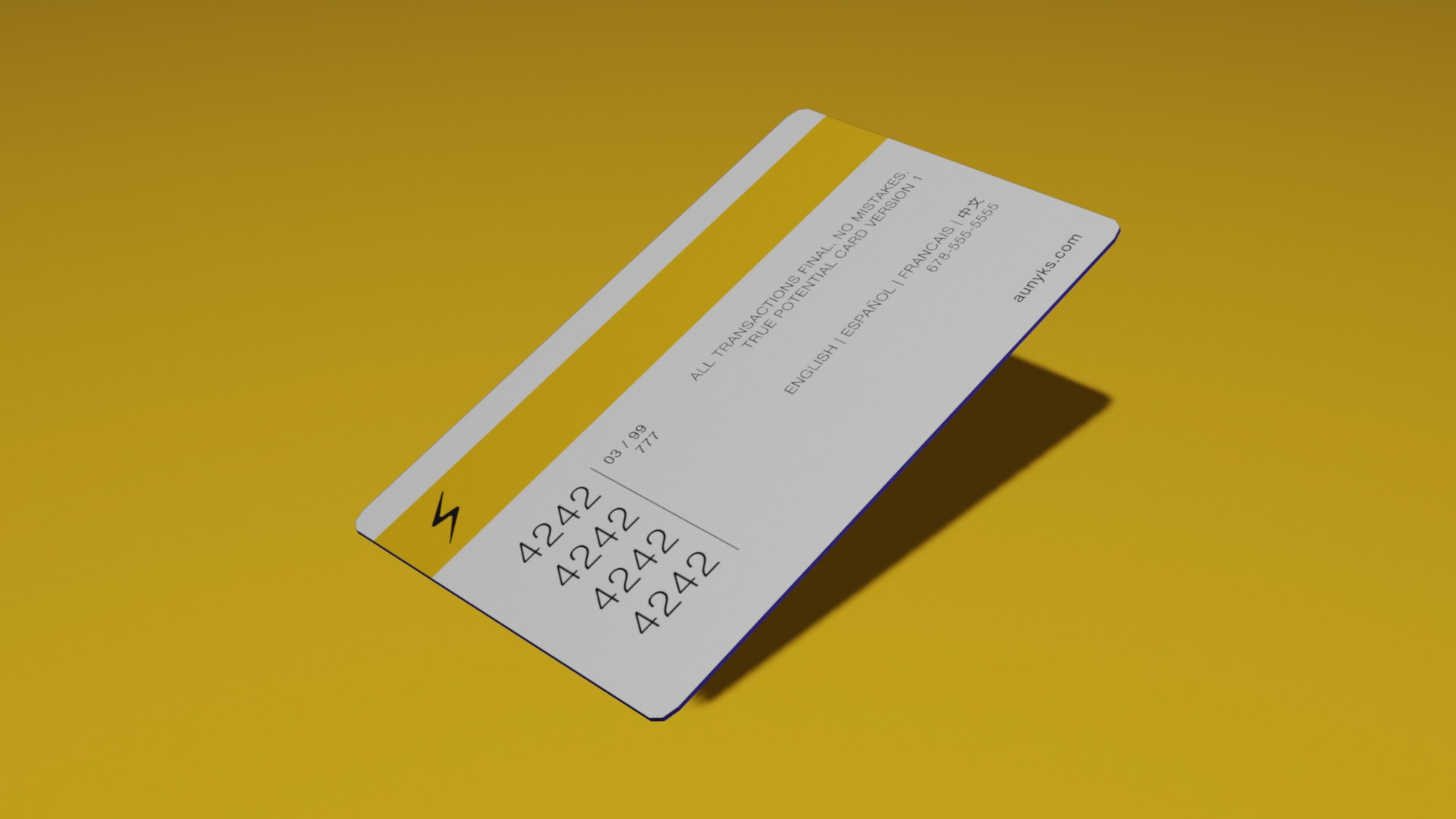 The back of the card, but the card is oriented with the right side up higher than the left side for visual appeal.