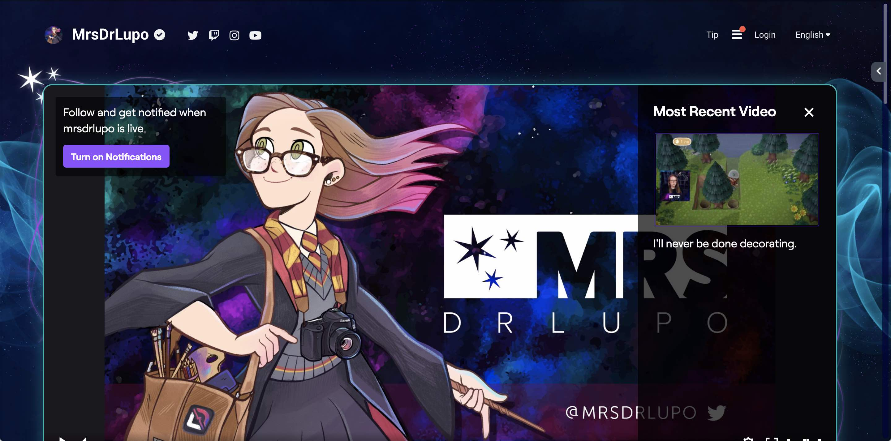 A screen capture of mrsdrlupo.tv.